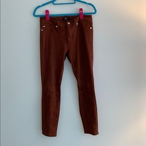 7 For All Mankind faux suede crop skinny pants.